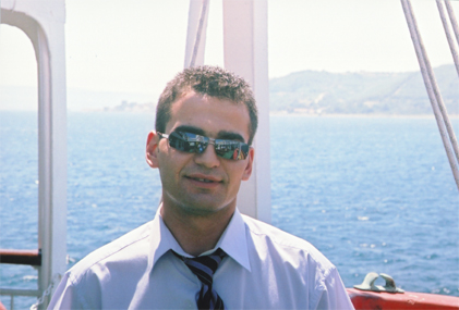 Naim on the ferry crossing the Dardanelles